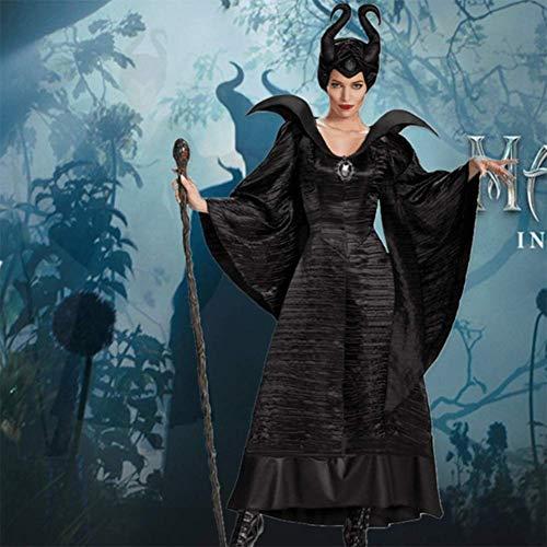 GGOODD Disney Maleficent Film Christening Black Gown Hexe Costume Erwachsene Damen Halloween Karneval Kleid Mit - Disney Maleficent' Kostüm Für Erwachsene