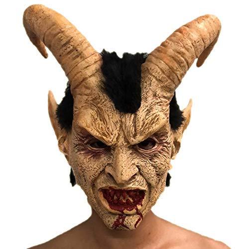 Scary Demon Devil Luzifer Horn Latex Masken Halloween Film Cosplay Dekoration Festival Party Supply Requisiten Für Erwachsene - Luzifer Für Erwachsenen Kostüm