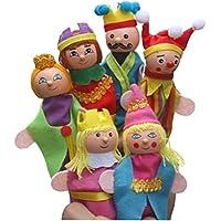 [] King & Queen Lot de 6marionnettes à doigts étage Lui Indiquent marionnettes pour enfants 0–3Years
