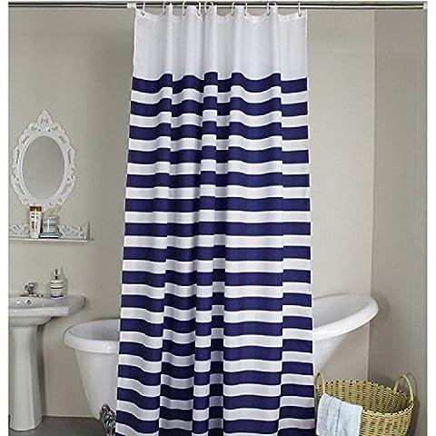 Weare Home Rideau de Douche Motif rayures Bleu et Blanc