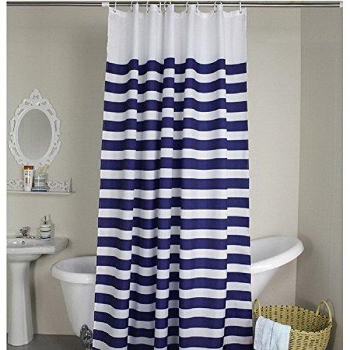 Weare Home blau & weiß Kreuz Streifen Stoff Badezimmer Dusche Vorhang–wasserdicht und mildewproof Polyester Stoff mit 12Kunststoff Haken, Polyester, multil, 180x200cm(72