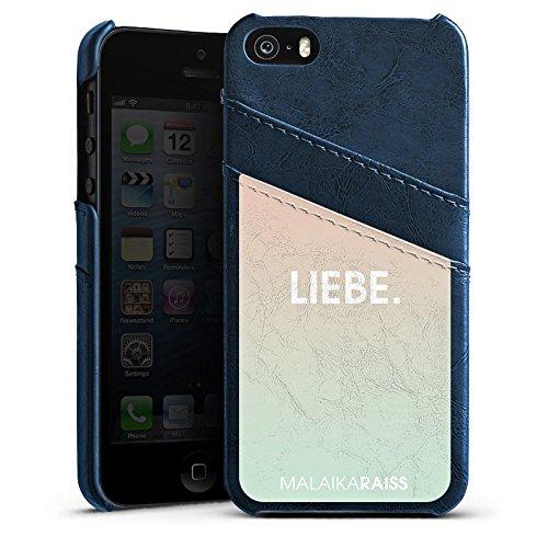 Apple iPhone 4 Housse Étui Silicone Coque Protection Amour Amour Phrases Étui en cuir bleu marine