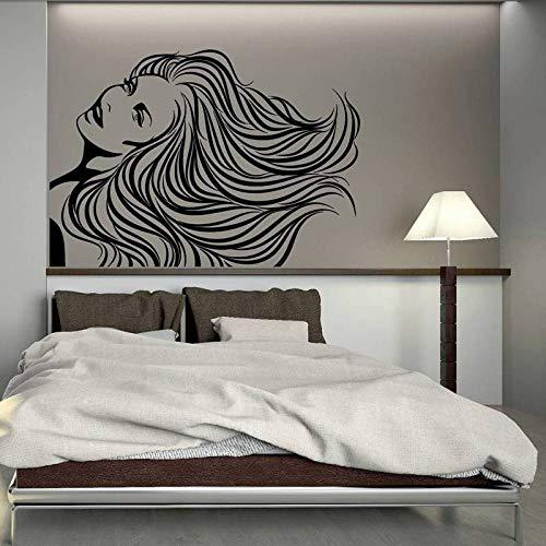 yaoxingfu Salon Aufkleber Frau Friseur Haar Beauty Spa Aufkleber Haarschnitt Poster Vinyl Wandkunst Aufkleber Dekor Wandbild Salon Sti Karte Farbe 58x82cm -
