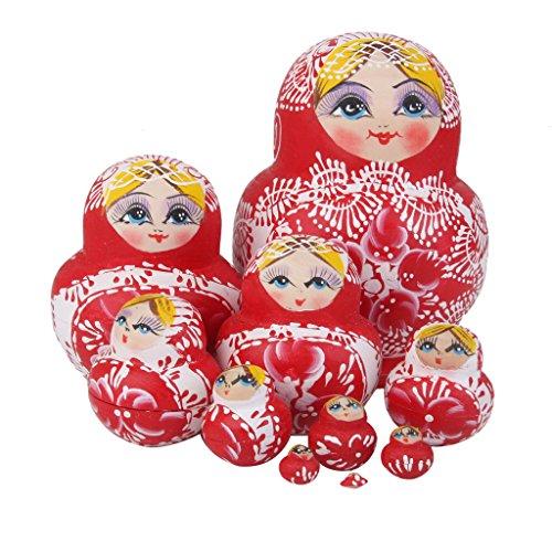 10pcs Muñecas de Anidación Rusa Matrioska Flores Pintada de Mano Madera Rojo Blanco