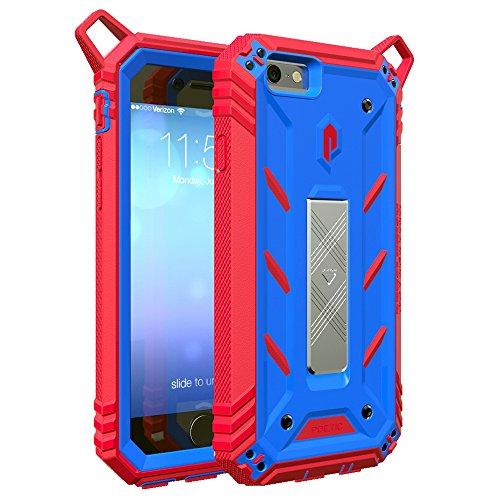 Funda iPhone 6S Plus - Poetic [Serie Revolución] [Pesada] [Doble Capa] Funda de Protección Hibrida Completa con Protector de Pantalla Incorporado para de Apple iPhone 6S Plus / iPhone 6 Plus (2015) Azul/Rojo (3 Años Garantía del Fabricante Poetic)