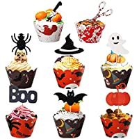 48PCS Halloween Cupcake Toppers Set Bat Witch Ghost Star Baby Shower Food Picks Decor Cupcake Halloween Party Picks Halloween Cupcake Decorations