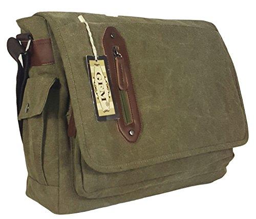 Seconds GFM -  Borsa Messenger classica in tessuto ideale per la scuola, per portare in  ufficio, in viaggio - Stile casual Large - #02HR - Army
