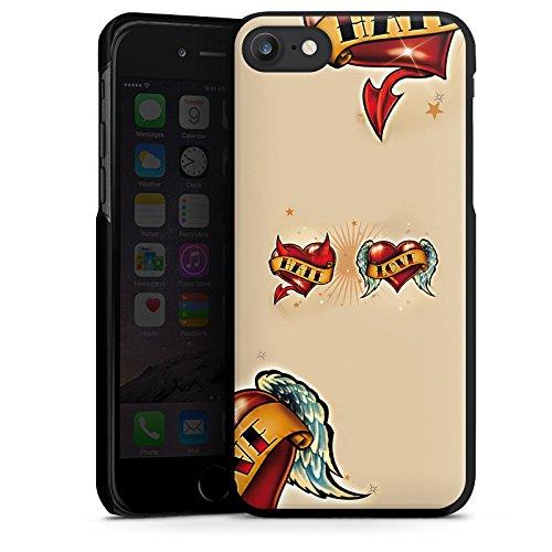 Apple iPhone X Silikon Hülle Case Schutzhülle Liebe Hass Herz Hard Case schwarz