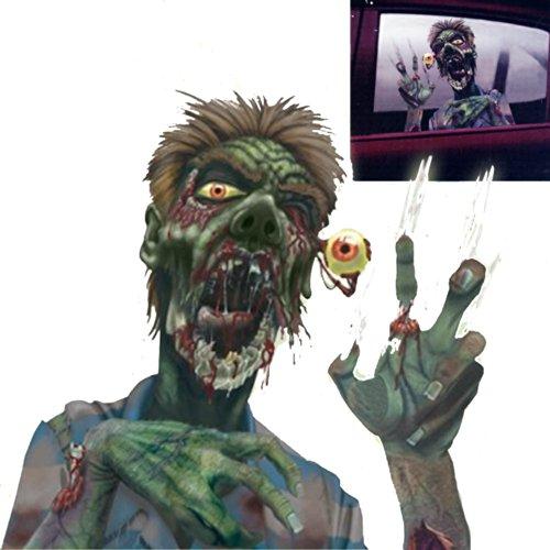 """Preisvergleich Produktbild Halloween Zombie Auto """"EIn Auge auf den Verkehr"""" Deko Folie für Autofenster Spiegel höllischer Untoter schaut aus Wagen raus 2 teiliges Set Fernfahrer Megahit Halloween Knaller USA Leichenwagen Zombiewalk"""