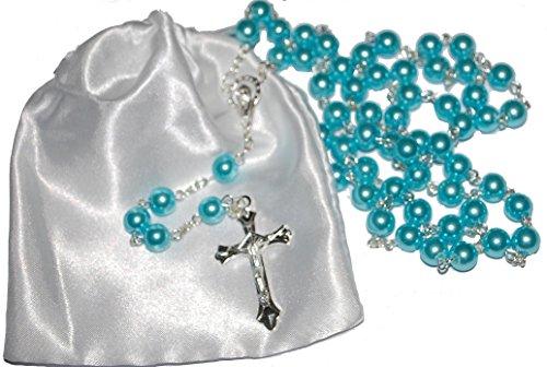 Erstkommunion Rosenkranz Perlen-1. Kommunion Geschenk-Mädchen & Jungen Geschenk, blau (Für 1. Jungen Kommunion-geschenke)
