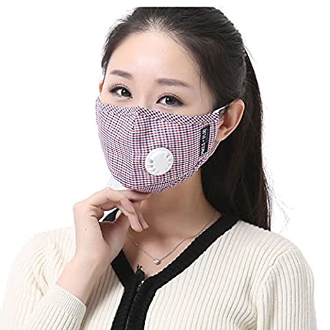 Butterme Unisex PM2.5 Cotton Plaid Mask Breath Respiratory Valve Anti Haze Anti-dust Earloop Mouth Masks Mouth-muffle Grid Design with Filter Respirator