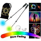 Pro Glow Poi - LED Poi Set + Stoff Reisetasche! Nachtleuchtender Poi inkl. Batterien. Langsam Fading multicolour Leuchtpoi Luminous Pois Led.
