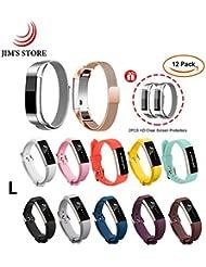 JIM'S STORE 2PCS Milanese Metallwiedereinbau-Magnet-Bügel u. 10PCS Silikon-Wirstbands mit Metall Gürtelschnalle + 2PCS Schirmschutz für Fitbit Alta / Alta HR (L)