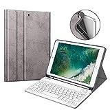 Fintie Tastatur Hülle für iPad 9.7 2018 (6. Generation), Soft TPU Rückseite Gehäuse Keyboard Case mit eingebautem Pencil Halter, magnetisch Abnehmbarer QWERTZ Bluetooth Tastatur, Silber grau