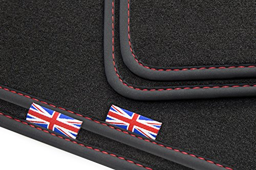 tuning-art EJ315 Exclusive 'Union Jack' Tappetini con bordo, lettering e cuciture decorative