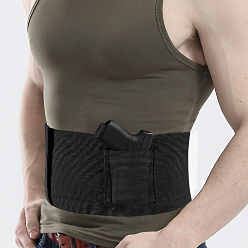 elegantstunning Outdoor Multifunktions Tactical Elastic Bauch Bund, Verdeckter Holster Gun Carrier Unsichtbar Girdle Taille Support Running Handy Halter