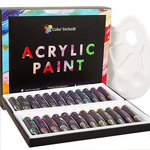 Acrylfarben-Set von Color Technik, professionellen Künstler Qualität, Palette enthalten, 24 Aluminium Tubes, besten Farben für Malerei Leinwand, Holz, Ton, Stoff, Nail Art und Keramik, reich ()