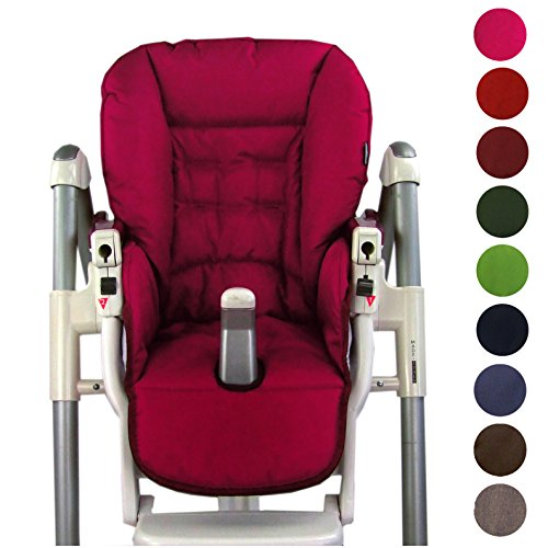 BambiniWelt Cojín de asiento, funda de repuesto para trona Peg Perego Prima Pappa Diner, 9colores rojo cereza
