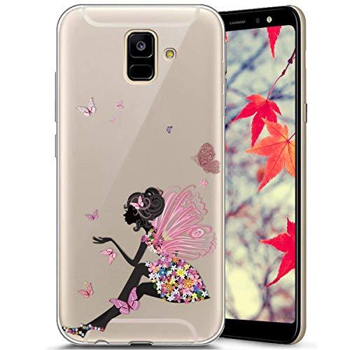 Surakey Compatible avec Coque Samsung Galaxy A6 2018,Transparente Silicone Housse Étui Protection TPU Bumper Téléphone Couverture Crystal Clair Coque pour Galaxy A6 2018 (Papillon fille)
