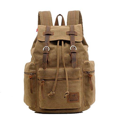 Ashcbus Herren Vintage-Rucksack Canvas Rucksack Schultasche Schultasche Tasche Wandern Daypacks Snowboard-Rucksäcke Brown