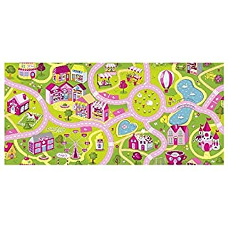 Associated Weavers Sweet Town SPIELDECKE 140X200 Rug, Stoff, Pink and Green 9.5 x 10.9 x 141.4 cm