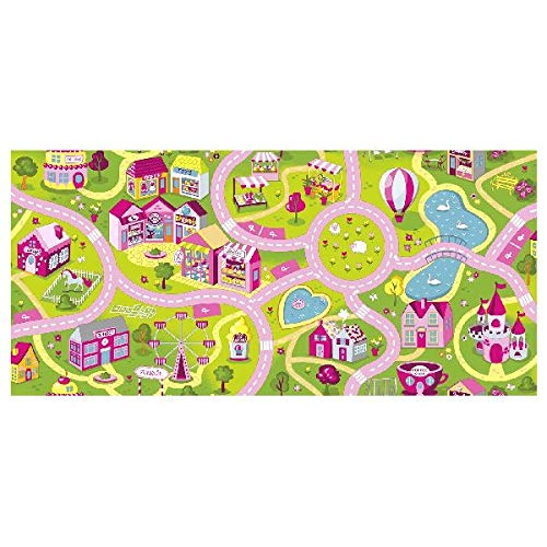 Associated Weavers 0309019 Sweet Town Parte Techo 140 x 200 Rug, plástico, Rosa/Verde, 9.5 x 10.9 x 141.4 cm