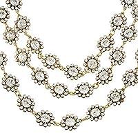 MJARTORIA Womens Antique Gold Color Flower Rhinestone Multilayers Collar Necklace