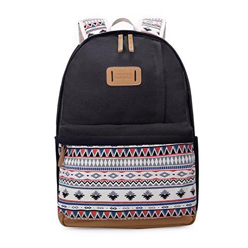 Ecosusi zaino scuola per ragazza laptop da 14.7 pollici zaino da scuola donna canvas backpack nero