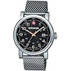Wenger Urban Classic men's quartz Watch with black Dial analogue Display and silver stainless steel Bracelet 011041106