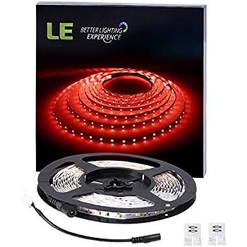 LE 5M Ruban LED Flexible Rouge, 300 Unités SMD LED 3528, 12V 4.8W Bande Lumineuse, Idéal pour Décoration Intérieure, Noël, Mariage, Festival, Bal, Party