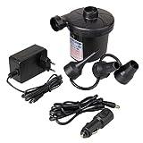 Elektrische Luftpumpe, GOCHANGE Elektropumpe DC12V/AC230V inkl. 3 Aufsätze für Luftmatratzen, Schlauchboote, Gästebetten, aufblasbare Schwimmtiere oder Camping - Automatisches