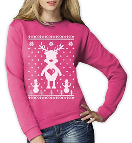 Reindeer Rentier Schneemann Ugly Xmas Print Motiv Frauen Sweatshirt Small (Ideen Sweater Ugly Christmas)