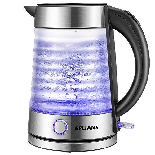 Wasserkocher Glas EPLIANS mit LED-Beleuchtung, 2200 Watt, 1,7 Liter, Trockenlaufschutz, BPA frei, kabellos automatische Deckelöffnung, Schwarz + Silber