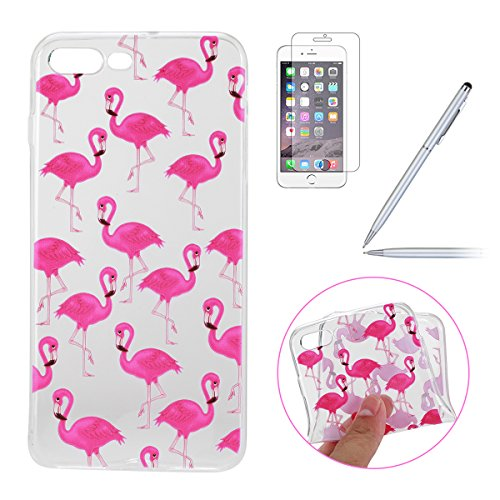 iPhone 7 Plus Silicone Case,iPhone 7 Plus Coque - Felfy Coque Souple Transparente TPU Silicone en Gel Case Premium Ultra-Light Ultra-Mince Skin de Protection Pare-Chocs Anti-Choc Bumper pour Apple iPh Flamingos Bumper