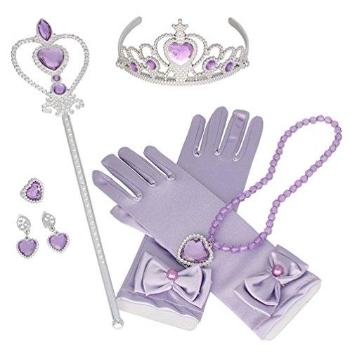 Das beste 8 Stücke Prinzessin Dress-up Party Zubehör mit Krone Wand Handschuhe Halskette Ohrringe Ring Set,Mädchen Geschenk-Set Prinzessin Karneval Verkleidung Party Cosplay Mädchen Handschuhe Hallow