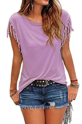 Frauen lose ärmellose Quasten T-shirt Tops Purple