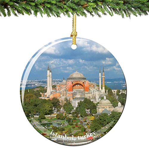 cwb2jcwb2jcwb2j Istanbul Hagia (Aya) Sophia Christmas Ornament of Turkey, Made of Porcelain in USA City Souvenir Ceramics Christmas Tree Decoration 3 Inches