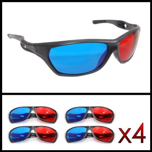3D Brille mit Anaglyphen-Technologie für Filme oder PC-Spiele im 4er Set, Gläser rot/Cyan