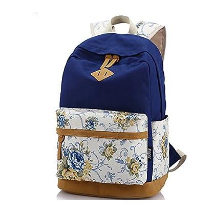 Moollyfox Las niñas Lona Mochila floral del Ordenador portátil bolso de escuela Mochilas para estudiantes Bolsa de viaje