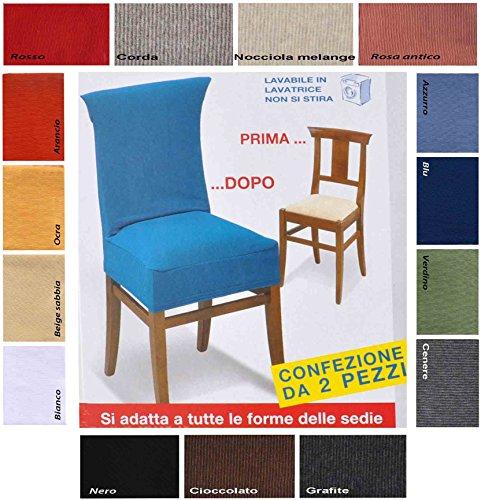 Casa tessile new york coppia di copri sedia universale - bianco