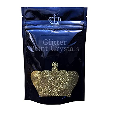 Glitter Paint Crystals (Gold) No1 BEST SELLER-By King Glitter-Easy Application Glitter Paint Crystal Additive For Emulsion Paint 110g - Amazing Eye-Catching Accent For Interior/Exterior Walls &