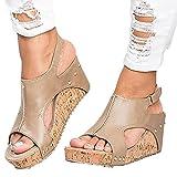Minetom Damen Sandalen Sommer Schnalle PU Wedge Plateau Peep Toe Römersandalen Strand Retro Elegant Mode Sandal Khaki EU 35