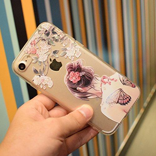 Cover iPhone 6/6S, XiDe Custodia iPhone 6/6S Ultra Sottile Leggera Soft Silicone Case Trasparente Chiaro Shell Antigraffio Antiscivolo Bumper per iPhone 6/6S - Fenicotteri Ragazza Di Farfalla