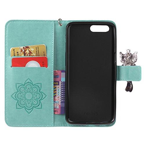 iphone7 Plus (5.5 Zoll) Wallet Case für Apple iPhone 7 Plus Flip Hülle Laoke Eule Blumen Muster Handyhülle Schutzhülle PU Leder Case Skin Brieftasche Ledertasche Tasche im Bookstyle in +Staubstecker ( 1