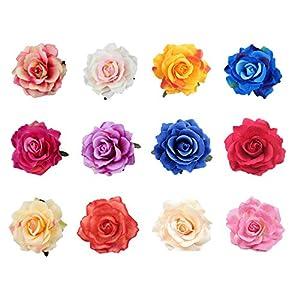 Gwolf Rose Blume Haarspangen, künstliche Blume Haarnadel Braut Blume Kopfschmuck Dance Party Performance Party Zubehör für Frauen Mädchen