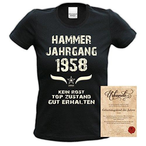 Damen Kurzarm Motiv T-Shirt Girlieshirt :-: Geburtstagsgeschenk Geschenkidee für Frauen zum 59. Geburtstag :-: Hammer Jahrgang 1958 :-: Farbe: schwarz Schwarz