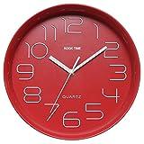 Kook Time Reloj Pared Retro Redondo, Rojo, 28.5x28.5x5.2 cm