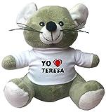 Ratoncito de juguete de peluche con camiseta con estampado de 'Te quiereo' Teresa (nombre de pila/apellido/apodo)