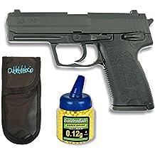 Pack Pistola airsoft HA112 negra metálica. Calibre 6mm. + 1000 Bolas + Funda Portabolas. 62779/21993/23054