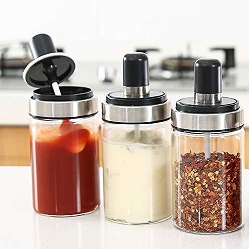 TENTA Kitchen Trenta Gewürzbox für die Küche Acryl-Gewürzbox mit 4Servierlöffel, schönes Design für die Küche (Spice Jar Set of 3) (Tray Condiment Mit Deckel)